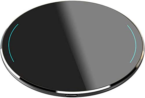 TOZO W1 Wireless Charger Thin Aviation Aluminum Computer Numerical Control Technology Fast Charging Pad Black (NO AC Adapter)