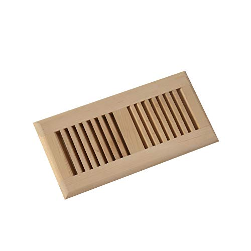 4 x 10 Inch Maple Wood Self Rimming Floor Register Vent Cover Grille Unfinished by WELLAND