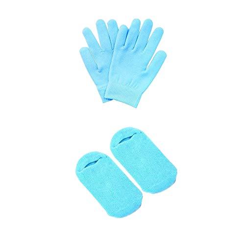Pinkiou Soften Silicon Gloves and Socks Moisturize Cracked Skin Care Gel SPA (gloves&socks, blue)