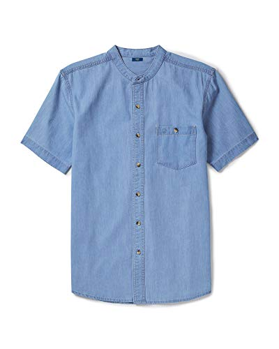 Shirt Stonewash Denim Short Sleeves - Cotton Traders Mens Womens Timeless Everyday Short Sleeve Denim Grandad Shirt Colour Light Stonewash Size Small