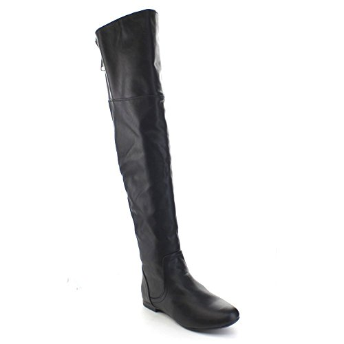 Bamboo Boots The Knee Riding Black Zipper Back Pu 45 Tiara Low Women's Over Heel rSrxR