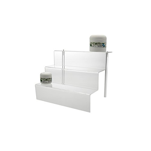 Mineral Display - Clear Acrylic Glass Riser Step Display - 3 Steps for Rocks, Minerals, Stones , Opals & Fossils