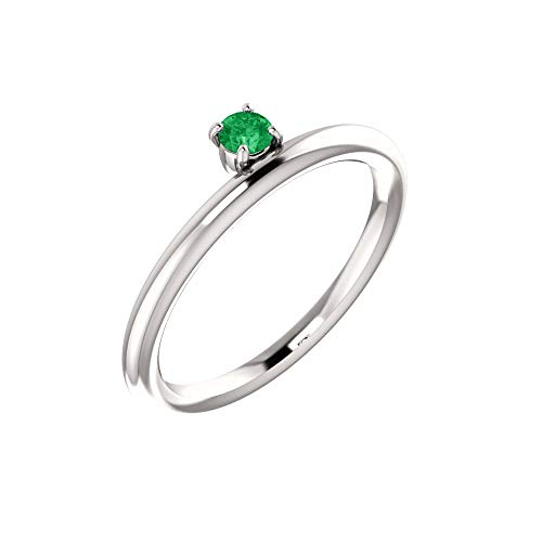 Bonyak Jewelry Lab-Created Emerald 14k White Gold Chatham Created Emerald Ring - Size 7