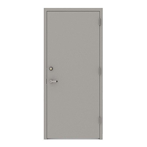 L.I.F Industries 36 in. x 80 in. Gray Flush Left-Hand Security Steel Prehung Commercial Door Welded Frame