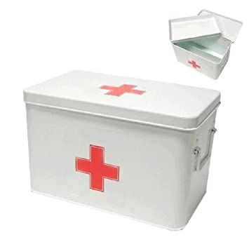 Erste-Hilfe-Box (leer) mit herausnehmbaren Fach, Metall, weiss ...