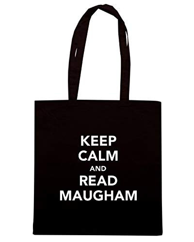 Speed Shirt Borsa Shopper Nera TKC3358 KEEP CALM AND READ MAUGHAM