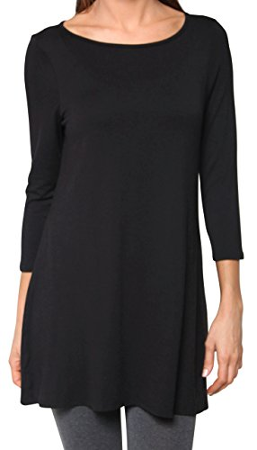 Free to Live Women's Flowy Elbow Sleeve Jersey Tunic Blouse Top Made in USA (XL, Black)