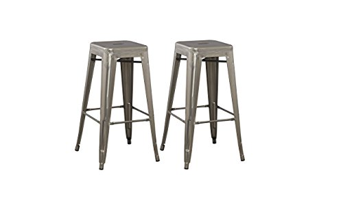 BTEXPERT Solid Steel Stackable Industrial Distressed Rustic Gun Metal Tabouret Dining room Modern Steel BarStool set of 2 Bar Stool