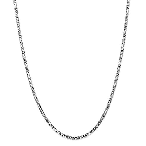FB Jewels 14k White Gold 2.9mm Beveled Curb Chain Necklace