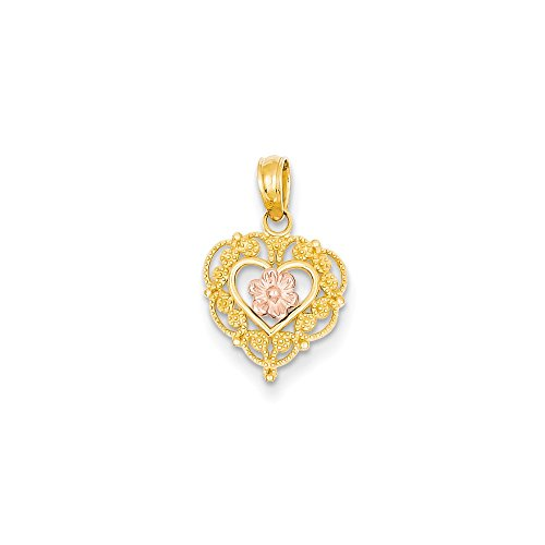 14k Two-tone Gold Lace Trim And Pink Rose Center Heart - Lace Two Gold Tone