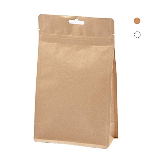 Tianhui Kraft Paper Reuseable Sealing Zip Lock Stand Up Pouches with Aluminium Foil, Pack of 100 (Brown, XL) -