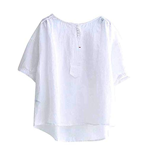 (Tantisy ♣↭♣ Women's Short Sleeve O-Neck Cotton Linen Tops High Low Summer Loose Casual T Shirt White)