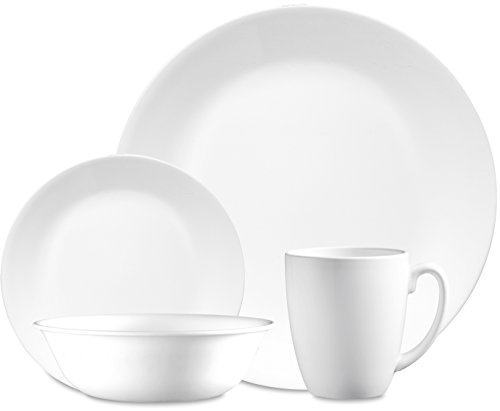 Corelle Livingware 32-Piece Dinnerware Set, Winter Frost White, Service For 8 (Dinner Set 72 Pieces)