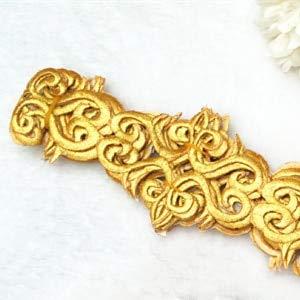 (Lace Crafts - Glden Embroidery Appliqued Braid Belt lace Clothes Sashes 4 Yards lon Embroidery 5cm-7CM(Widest) - (Color: Golden))