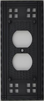 Arts & Crafts Mission Style Oil Rubbed Bronze One Gang Switch Plate - One Duplex Outlet Opening