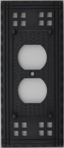 Arts & Crafts Mission Style Oil Rubbed Bronze One Gang Switch Plate - One Duplex Outlet (Crafts Mission Bronze Finish)