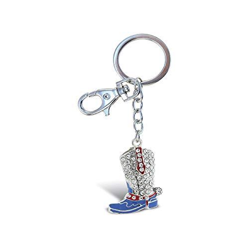 - Aqua79 Crystal Charm Keychain, Rhinestone Silver Women Key Ring - Cowboy Boot