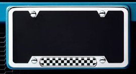 MINI Cooper Polished Checkerboard License Plate Frame