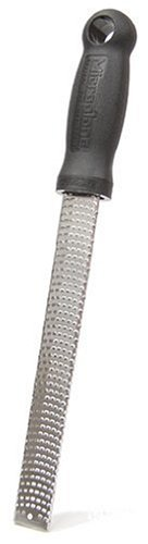 Microplane Zester Grater made in USA  stainless steel blade for zesting citrus and grating cheese - plastic handle - black