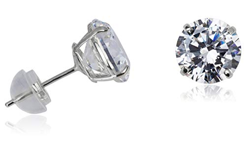 Silverluxe 14kt White Gold Fine Cubic Zirconia Stud Earrings 8mm Round with 14kt Silicone Backs ()