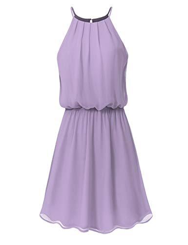 JSCEND Women's Sleeveless Double Layered Pleated Neck Cami Chiffon Mini Dress (S~3XL) A-Lavender -