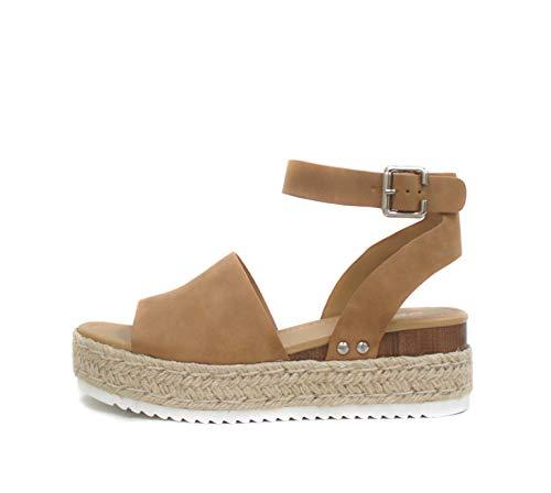 SODA Topic Open Toe Buckle Ankle Strap Espadrilles Flatform Wedge Casual Sandal (7, Tan)