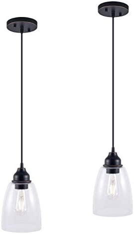 YaoKuem Pendant Lighting Fixture, Hanging Lights with E26 Medium Base, Metal Housing with Clear Glass, Bulbs not Included, 2-Pack Oil Rubbed Bronze Finish