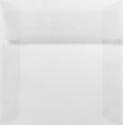 5 1/2 x 5 1/2 Square Envelopes w/Peel & Press - Clear Translucent (50 Qty.) | Perfect For Thank You Notes, RSVPs, Greeting Cards, Weddings or any Announcement | Square Flap | 8515-50-50 ()