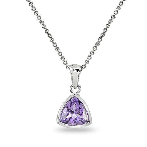 - Sterling Silver Amethyst 8mm Trillion Bezel-Set Dainty Pendant Necklace for Women, Teen Girls