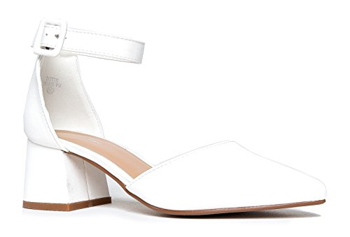 Pointed Toe Ankle Strap Low Heel Sandal, White Pu, 11 B(M) US