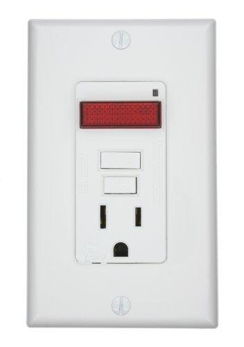UPC 078477409657, Leviton 7591-PLW 15-Amp, 125-Volt, Smart Lock GFCI, Single Outlet, LED Pilot Light, Monochromatic, White