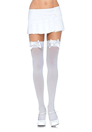 [Leg Avenue Women's Plus-Size Opaque Thigh High Hosiery with Satin Bow, White, Plus Size] (Lady Reaper Adult Plus Size Costumes)