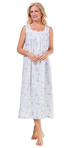Eileen West Long Sleeveless Cotton Lawn Nightgown in Dreamy Blue (Small/6-8, Dreamy Blue (Eileen West Cotton Nightgown)