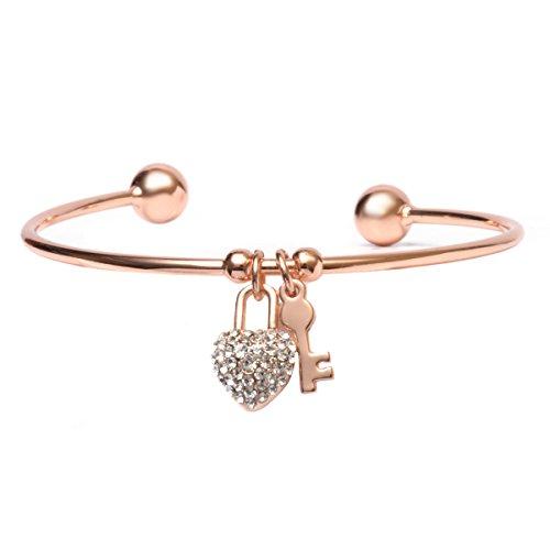 Barzel Rose Gold Plated White Swarovski Elements Heart Lock and Key Charm Cuff