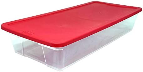 """HOMZ Holiday Plastic Storage Container, 41 Quart - 34.375"""" x 15.5"""" x 6"""", Red, 2 Count"""