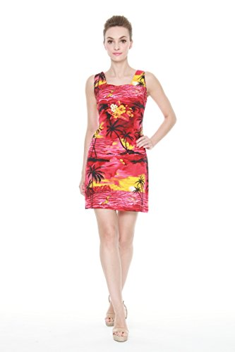 Plam Wave Women's Hawaiian Luau Tank Dress in Sunset Red Print S (Couples Outfit)