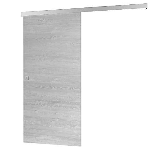 inova Holz-Schiebet/ür 880 x 2035 mm Pinie Alu Komplettset mit Lauf-Schiene und Griffmuschel