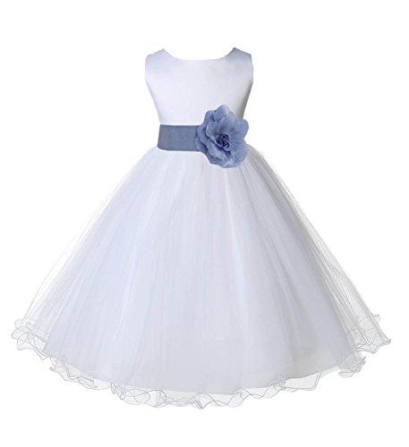 Wedding Pageant White Flower Girl Rattail Edge Tulle Dress 829s 8