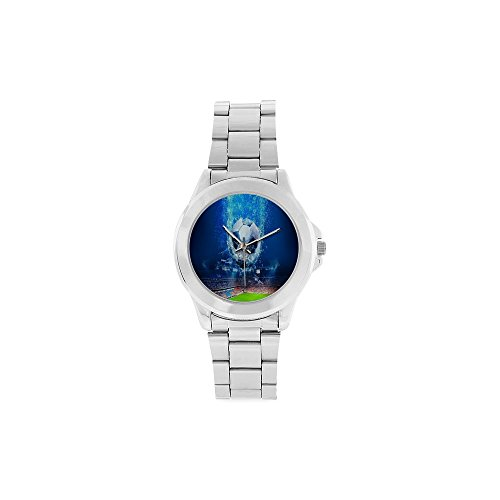 Unisex Stainless Steel Watch Soccer Ball Football Design by Unisex Stainless Steel Watch