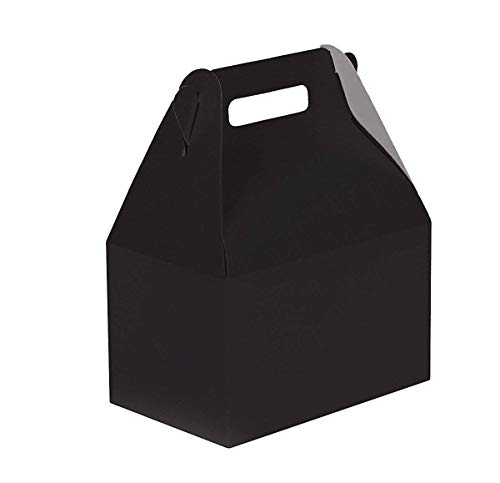 - 24CT (2 Dozen) Biodegradable Kraft/Craft Favor Treat Gable Boxes, Gift Boxes (Black, Small)