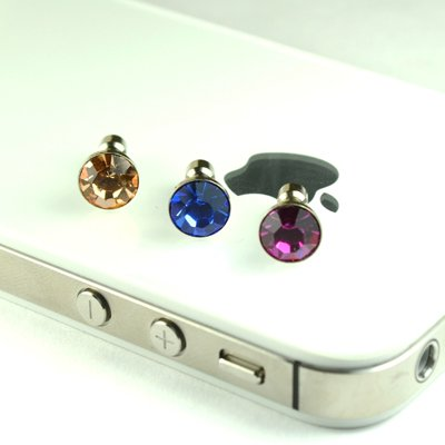 3 Pack Diamond Anti Dust Earphone Jack Plug Stopper for