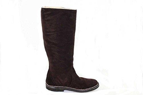 Delacroix Stiefel Shoe Leder Lammfell Winterstiefel Gr.36-39 2287 dunkelbraun