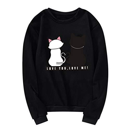 Quartly Unisex Men Women Long Sleeve O-Neck Cat Printed Sweatshirt Pullover Casual Basic Cute Tee Shirts(Black,L)
