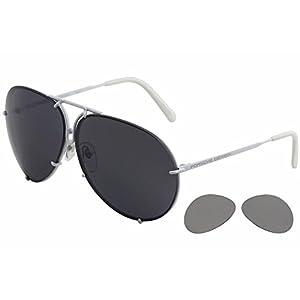Porsche Design P'8478 P8478 P White Pilot Sunglasses 66mm W/Extra Lenses