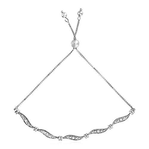 Mia Diamonds Adjustable Wave Motif Bracelet with Diamonds in 925 Sterling Silver