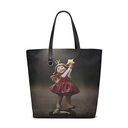 (Angel Statuette Star Tote Bag Purse Handbag For Women Girls)