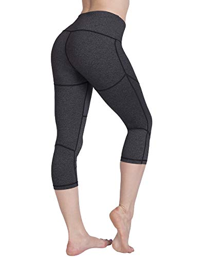 UURUN Women's Capri Workout Leggings with Pockets High Waisted Tummy Control Yoga Pants Non See Through Compression Running Capris for Fitness Gym Athletic Grey L