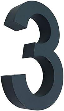 grau RAL 7016 Edelstahl NEW DESIGN rostfrei witterungsbest/ändig 20cm Hoch 0 1 2 3 4 5 6 7 8 9 a b erh/ältlich 3D Hausnummer 0 anthrazit