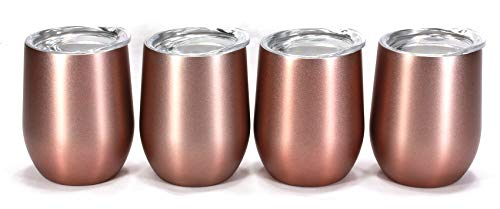 - Trendiware Double Wall Vacuum Sealed Stainless Steel Stemless Wine Glass 12oz (Rose Gold, 4)