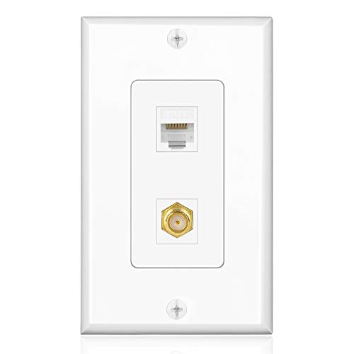 TNP Ethernet Coax Wall Plate with 1 RJ45 Port and 1 Gold Plated TV F-Type Coaxial Cable Connector Socket for Cat6 Cat5e Cat5 Jack, White
